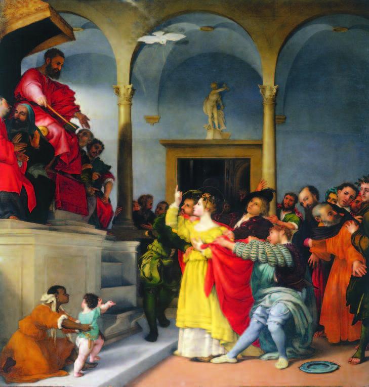 """Stretching ad """"arte"""" nella Pinacoteca di Jesi pala di Santa Lucia, dipinto di Lorenzo Lotto"""
