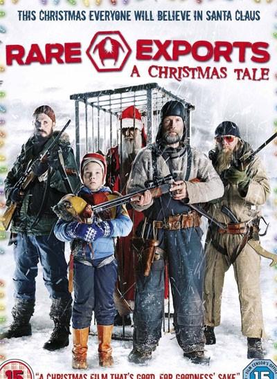 Il Natale sta arrivando e nella foto un film da guardare, in alternativa i soliti film. Nella locandina a sfondo bianco il cast di attori di rare export con dietro una gabbia con dentro Babbo Natale