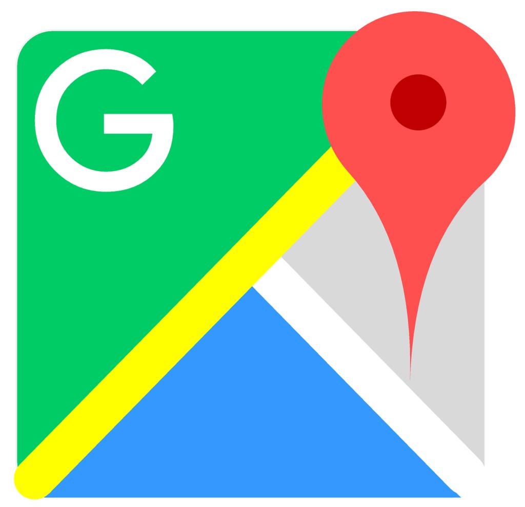 """il simpbolo dell'applicazione di google maps con un quadrato diviso in due triangoli divisi da una striscia gialla, uno verde con la scritta """"G"""" e l'altro diviso in altre due parti, una blu e una grigia, con un flag rosso di posizione."""