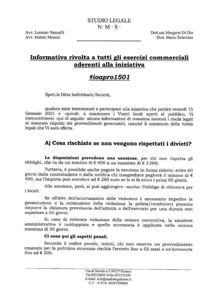 #ioapro - inoformativa stilata dagli avvocati dell'organizzazione - pag 1