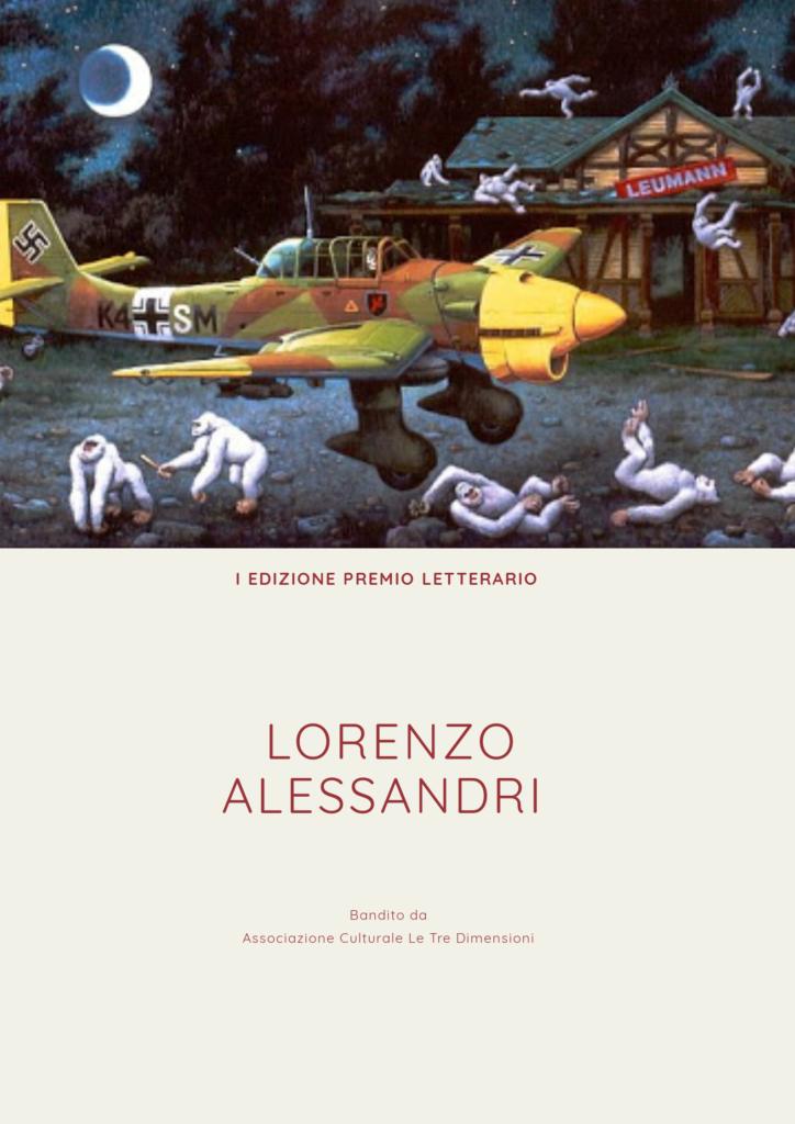 Le Tre Dimensioni - la locandina del bando letterario Lorenzo Alessandri con il dipinto di un aereo colorato