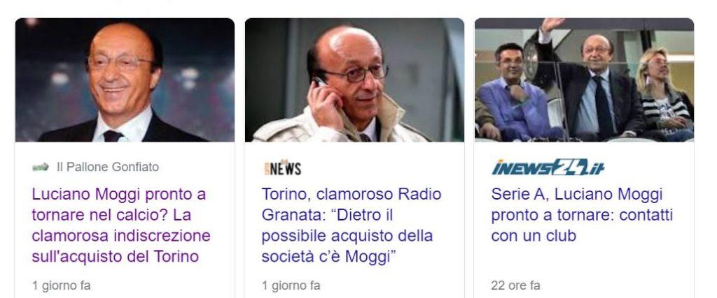 Luciano Moggi al toro - lo screenshot di tre articoli riguardanti la notizia