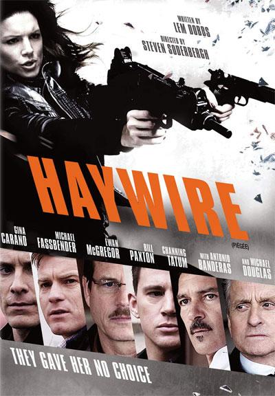 azione nel film Knock out in copertina una donna che spara con delle mitragliette e sotto i 6 attori del cast del film