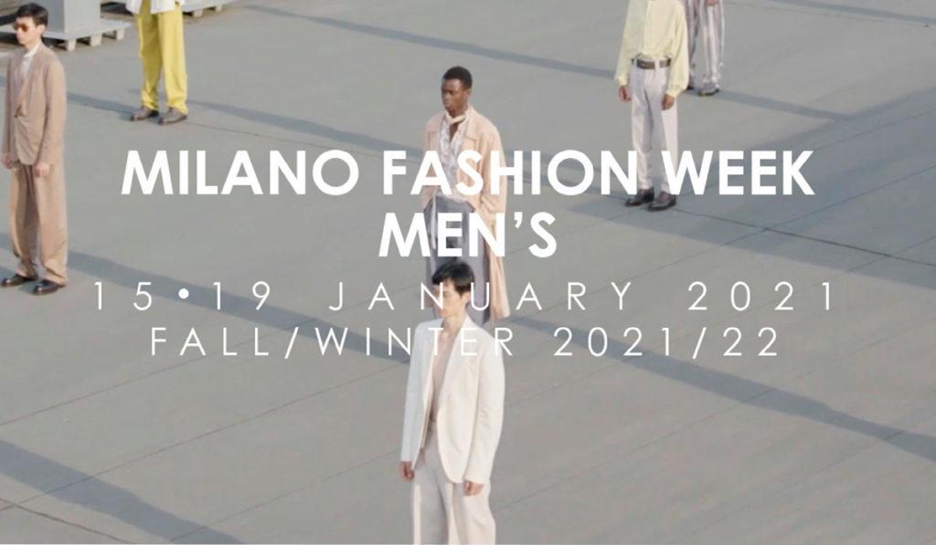 Milano Moda Uomo la locandina con dei modelli in piazza distanziati tra loro