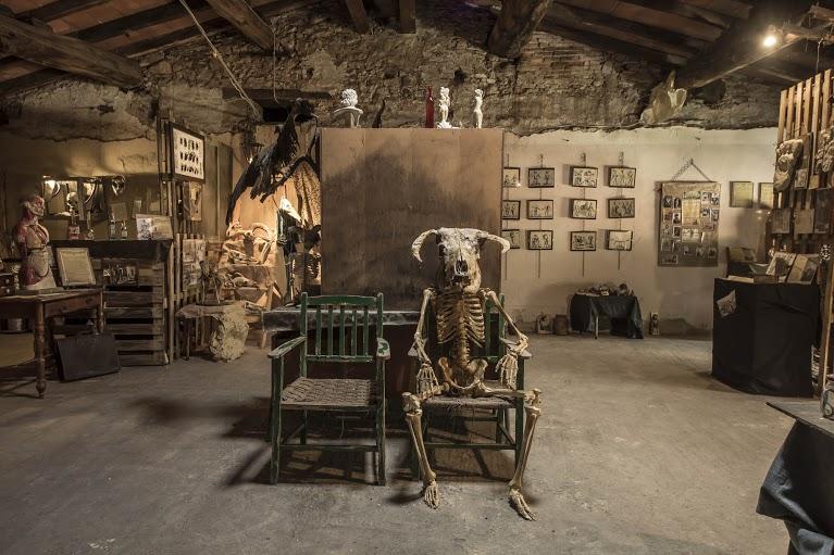 Christian Alpini del museo dell'impossibile, nella foto, una sala del museo con tanti oggetti strani tra cui uno scheletro seduto su una sedia in mezzo alla stanza