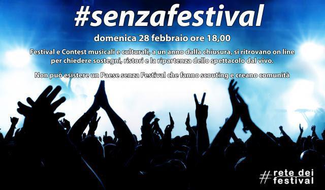 #senzafestival - la locandina cn  sfondo blu e delle sagome nere che rappresentano il pubblico in un concerto live, conle mani alzate, e diverse scritte