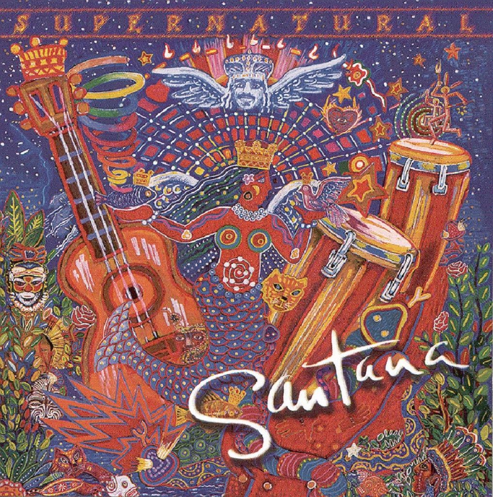 supernatural carlos santana - la copertina del disco in un tripudio di colere rosso, con una chitarra stilizzata sulla sinistra