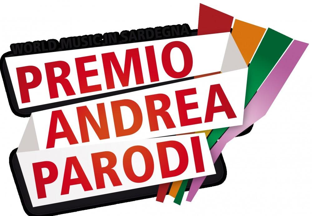 contest premio Andrea PArodi la locandina con la scritta rossa e messe in obliquo delle strisce colorate