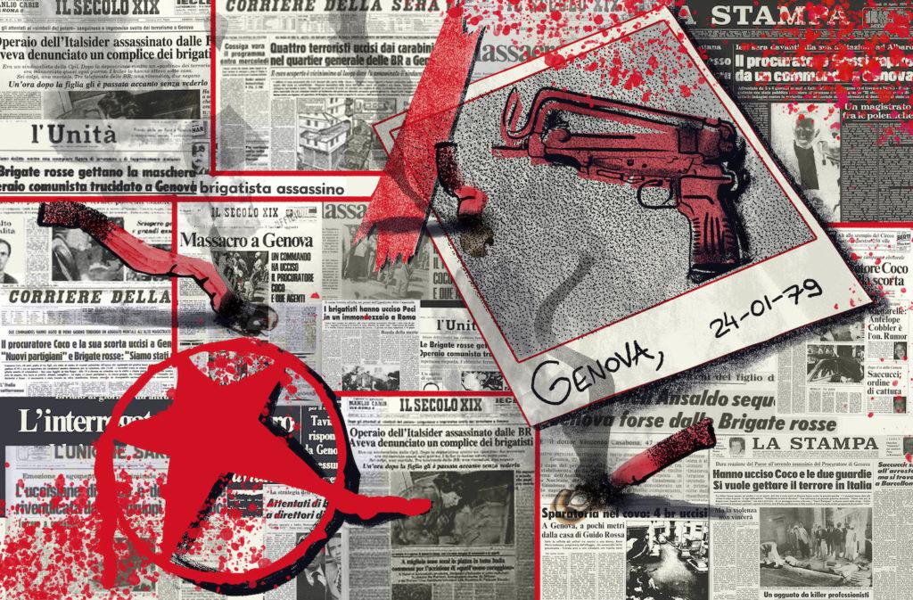 hit parade fantasma - un fotomontaggio di articoli di giornali riguardanti le brigate rosse