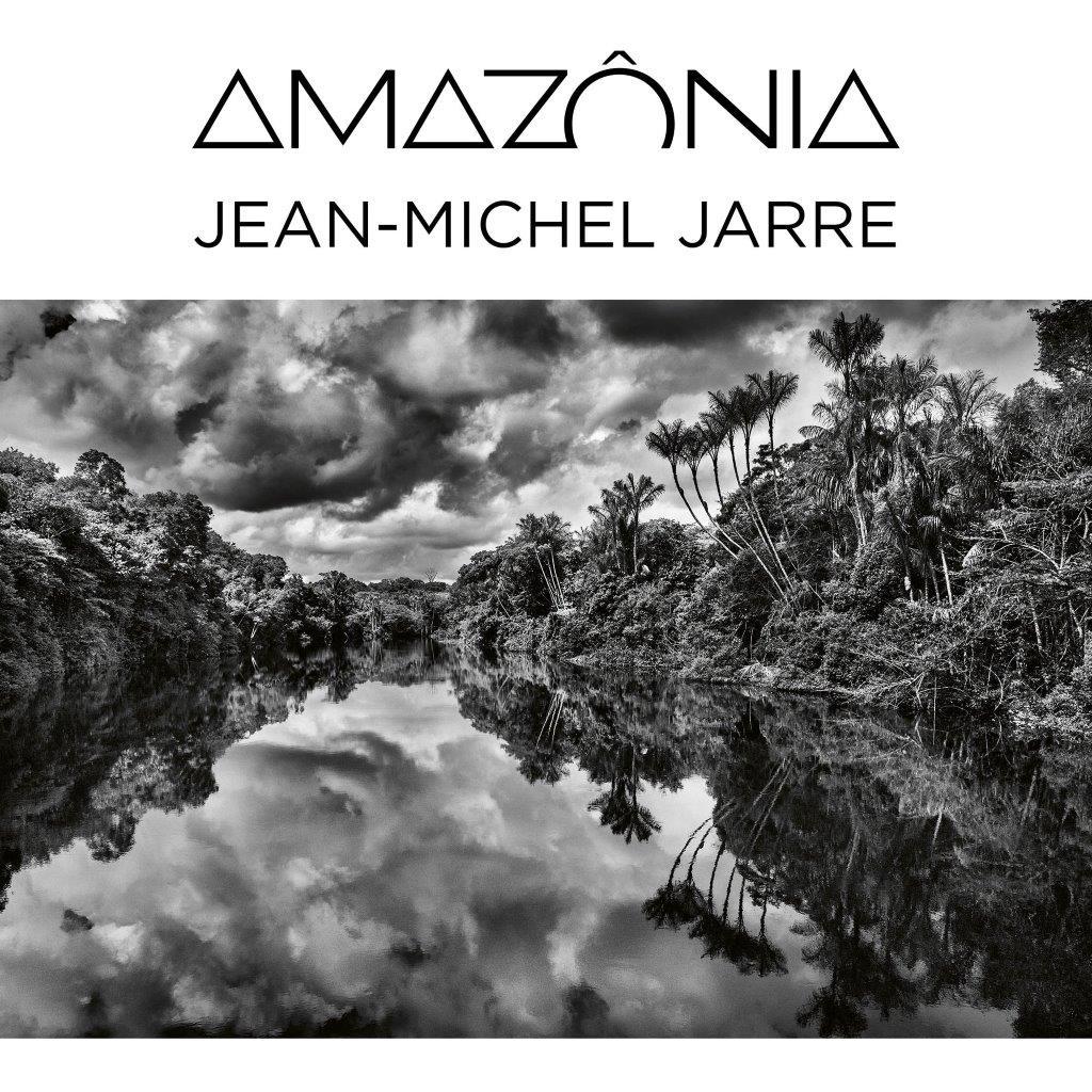 Amazônia Jean.-Michel Jarre la copertina del disco inbianco e nero con la fotografia di un fiume che attraversa la foreesta amazonica