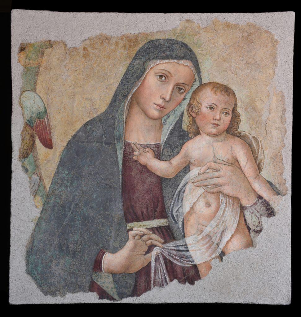 Madonna delle Partorienti dopo il recente restauro. Esposta a Torino dalle Grotte Vaticane di Antoniazzo Romano,