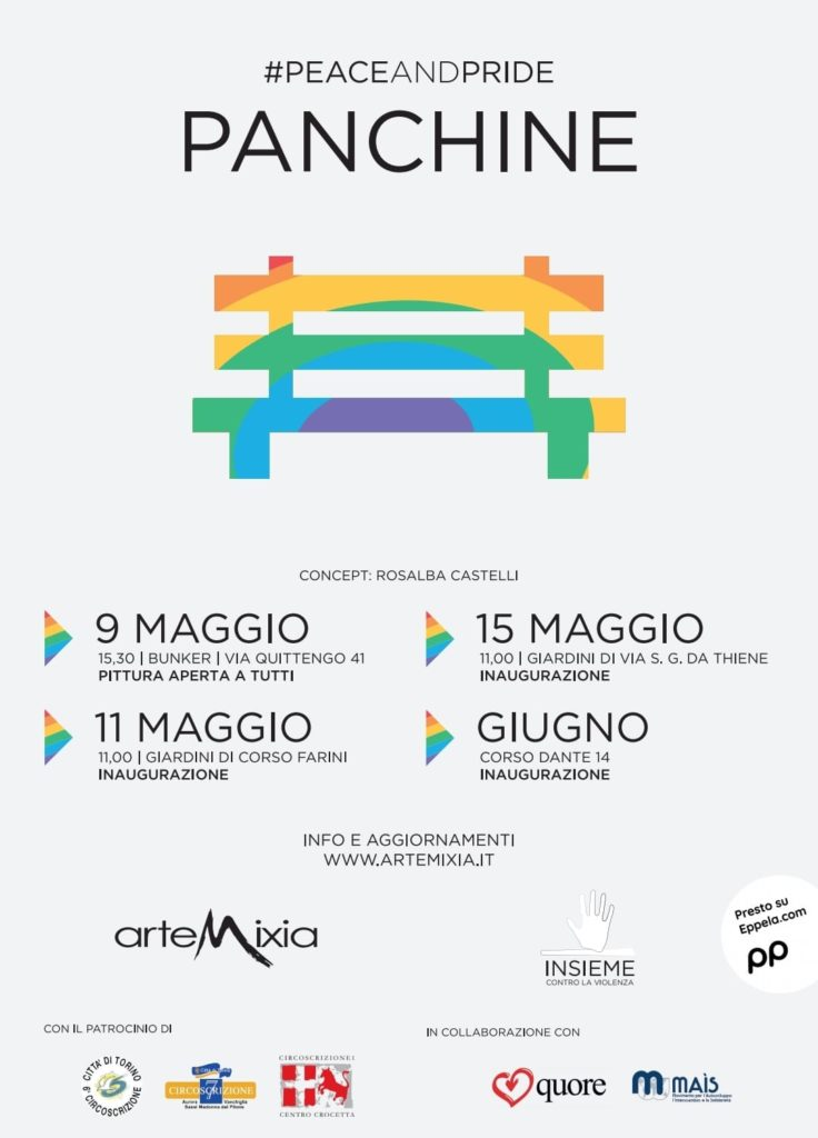 Locandina programma Artemixia panchine arcobaleno Torino