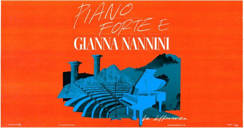Piano Forte E Gianna Nannini - la differenza - la locandina del tour su sfondo rosso