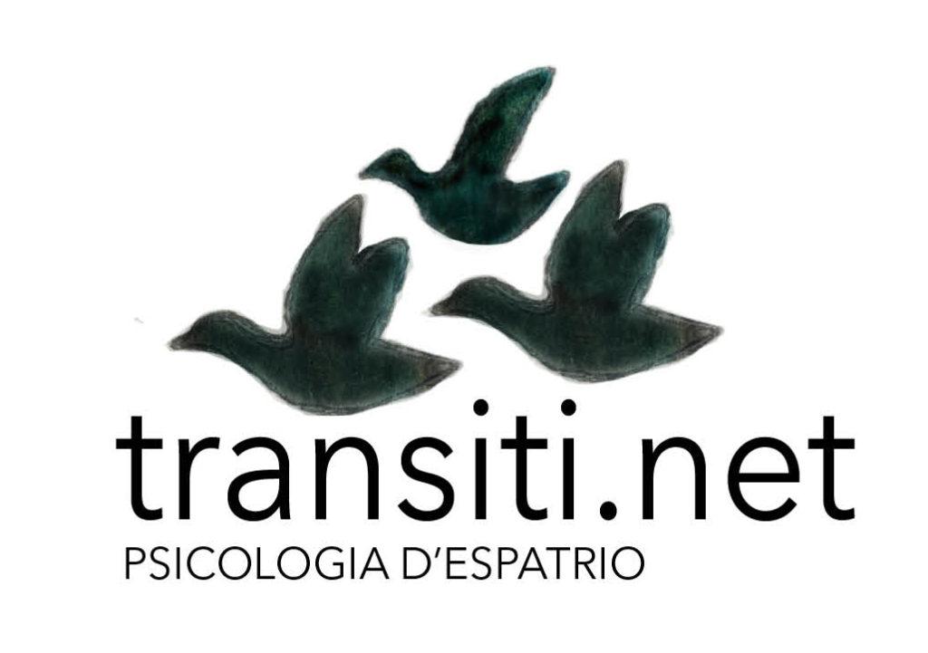 """transiti il logo con tre anatre disegnate in nero e la scritta """"transiti.net psicologia di espatrio"""""""