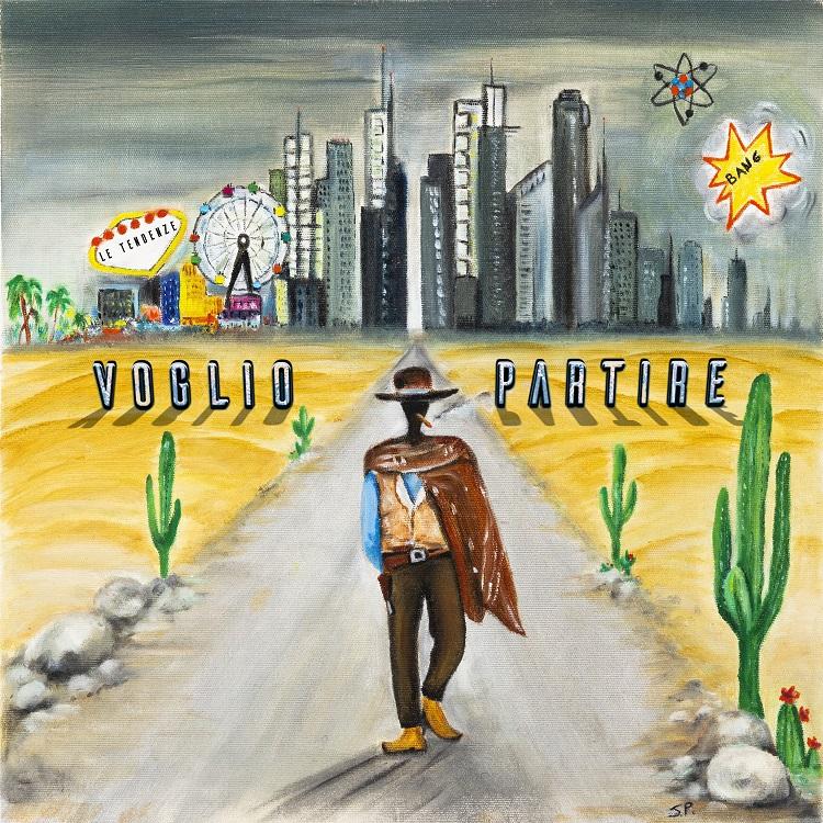 voglio partire la copertina del singolo a cartone animato che ritrae un cowboy che cammina per strada verso una serie di grattacieli