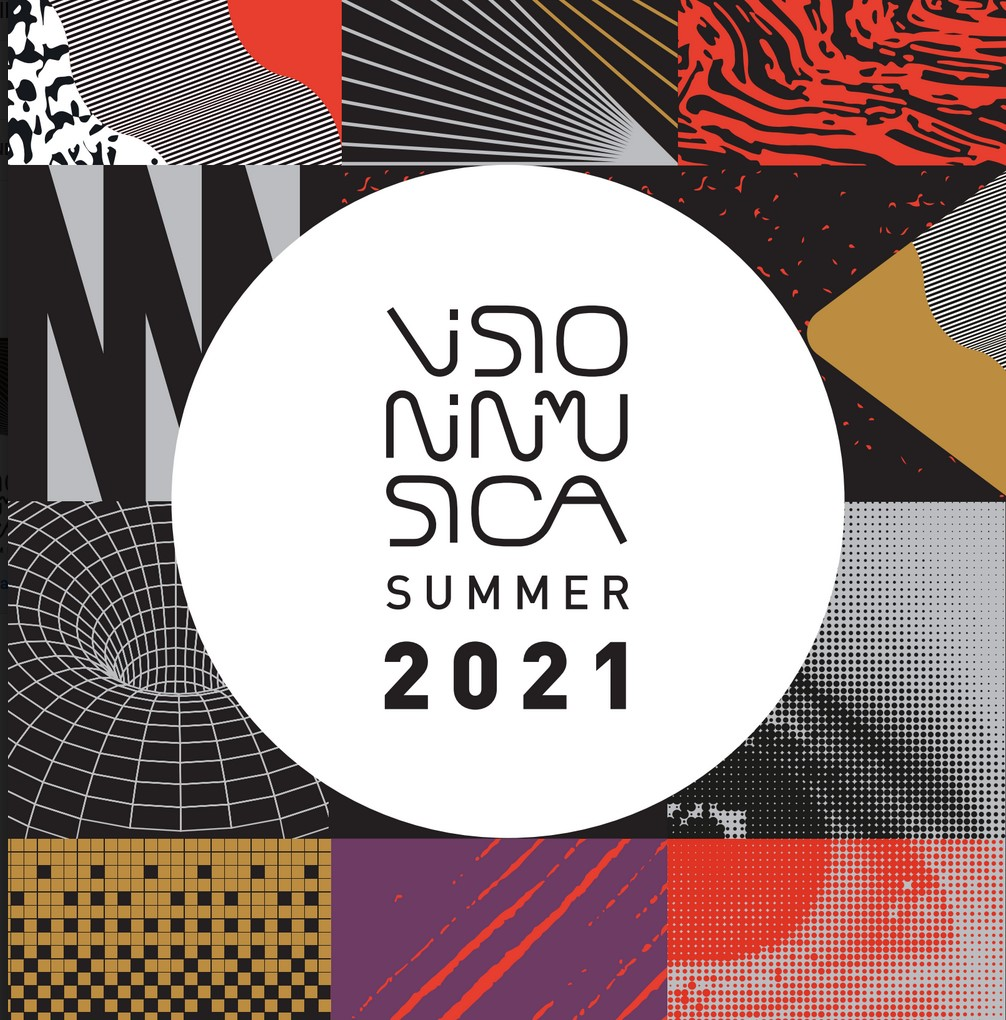 Visioninmusica la locandina con la scritta al centro di un cerchio bianco e intorno dei quadrati coolorati con delle figure geometriche