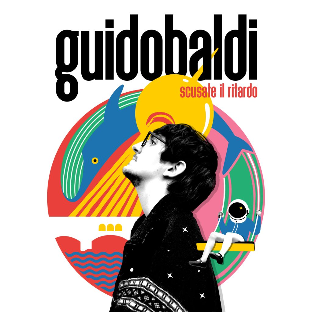 guidobaldi la copertina del disco scusate il ritardo, in primo piano di profilo in bianco e nero dietro un logo colorato con una balena e un'astronauta
