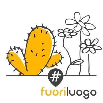 Biella #fuoriluogo il logo: su sfondo bianco il disegno di un cactus giallo co tante spine, vicino a dei fiori disegnati in bianco e nero