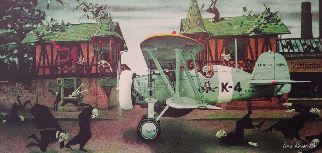 Collegno - un quadro che rappresenta il villaggio leumann con delle case rosse con tetti verdi da cui volano via delle tegole , un aereo pilotato da uno scheletro e tanti altri scheletri vestiti con un palto nero che camminano sotto l aereo
