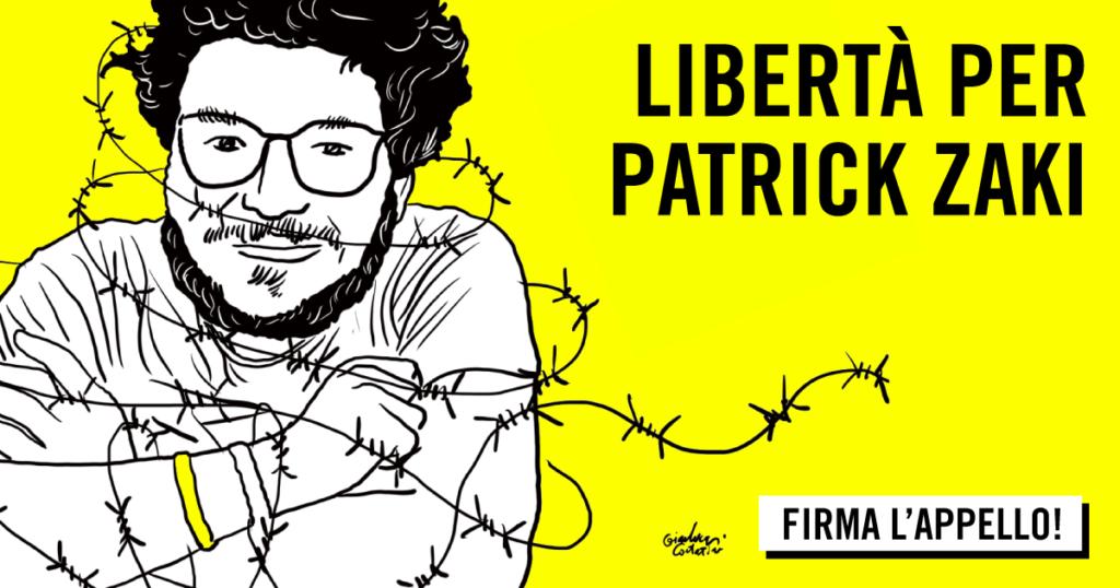 Mei 2021 - una foto a sfondo giallo, con disegnato il volto di Patrick Zaki, con occhiali e barba, il suo corpo a mezzo busto è circondato da filo spinato