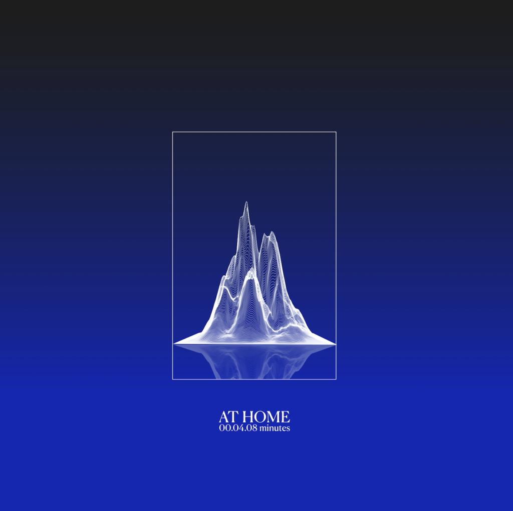 the 24 project - la copertina del singolo at home, che raffigura un montagna disegnata di bianco, su sfondo azzurro