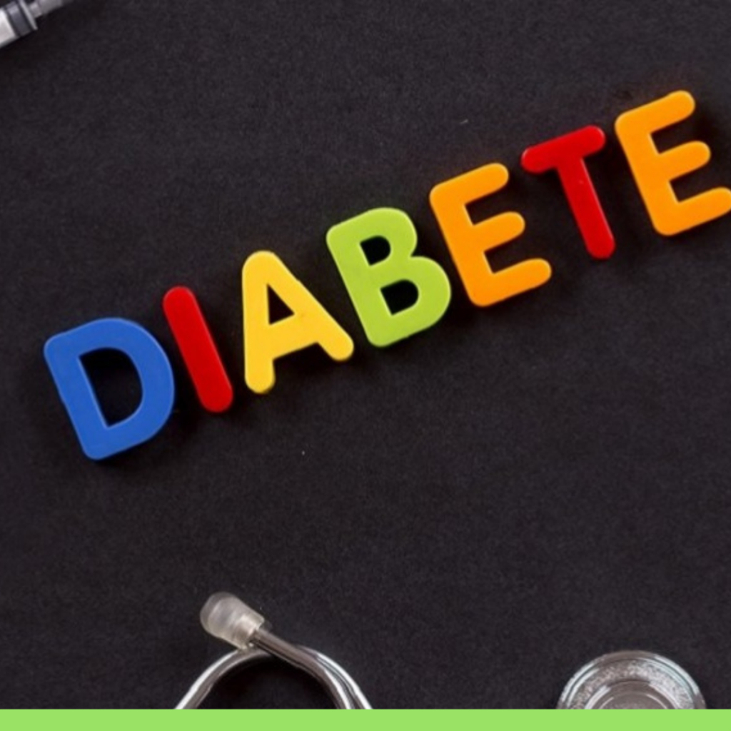 Diabete scritto a colori su fondo nero